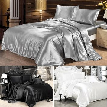 100% satin bedding set comforter bedding set duvet cover bed sheet pillow Quilt cover Single/Double/Queen Size Quilted