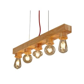 Wood Beam with Five Lights Fixture