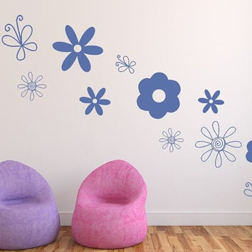 Wall Decals Doodle Flowers and Butterflies Variety Set of 12 Vinyl Decals 22517