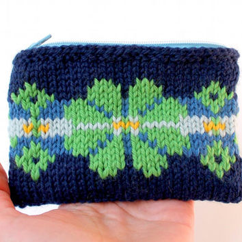 Colorful Knit Boho Wallet / Wool Small Bag / Fair Isle Knitting Bag / Zippered Pouch / Lined Purse Insert / Spring Flowers / Gift for Her /