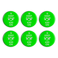 Keep Calm And 420 On Marijuana Pot Weed Plastic Resin Button Set of 6