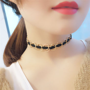 Black Chain Weave Circle Metal Wire Chokers Colares Necklaces Statement Jewelry