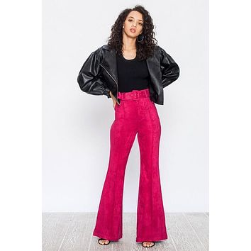Faux Sueda Flared Pant