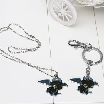How To Train Your Dragon 2 Toothless Night Fury pendant Necklace keychain keyrings