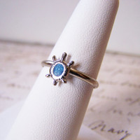 Dainty Vintage Sterling Silver Turquoise Turtle Ring Size 7 / Gift for Her.