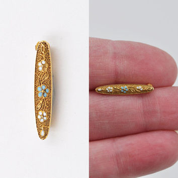 ON SALE Antique 14K Gold Art Nouveau Bar Pin Brooch, Enamel, Forget-Me-Not,  Lingerie Pin, Floral, Baby Pin, Wedding, Precious! #b290