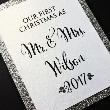 Our First Christmas as Mr and Mrs Ornament - Silver Glitter