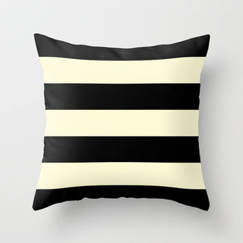 Black and Cream Stripe Throw Pillow by Color and Form | Society6