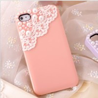 cute  pearl lace case for iphone 4/4s/5