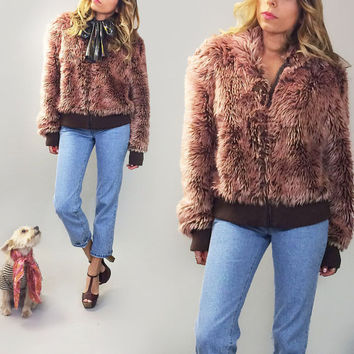 Vintage 1970's 1980's CANDY Psycedelic Colored Faux Fur Glam Rock Chubby Cropped Pink Mocha Lavender Coat || Size Medium Large