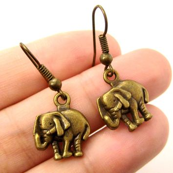 Classic Elephant Shaped Dangle Earrings in Brass | Animal Jewelry