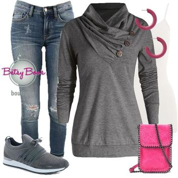 (pre-order) Set 802: Gray Gathered Neck Top (incl. top, tank & earrings)