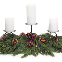 Sub Zero Collection Cypress Candle Centerpiece w/Pinecone