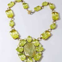 Czech Cameo Vaseline Uranium Statement Necklace