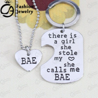 2 Set There is this girl she Stole my heart she calls me BAE Dog Tag Heart Pendant Necklace Gift Jewelry