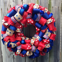 USA Fourth of July Wreath-