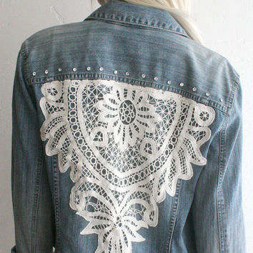 Denim Jacket OOAK vintage style with Lace and Swarovski Crystal Rivets