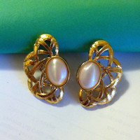 Angelica Earrings Vintage Avon Gold Abstract Open Weave Design Earrings With Large White Cabochons Modern Style Christmas Clip On Earrings