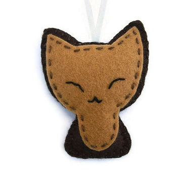 Felt cat ornament, brown kitty, felt animal, cute plush keychain
