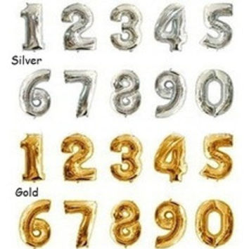 16 Inch Gold Silver Foil Number Balloons Birthday Wedding Party Decoration Useful [8401033991]