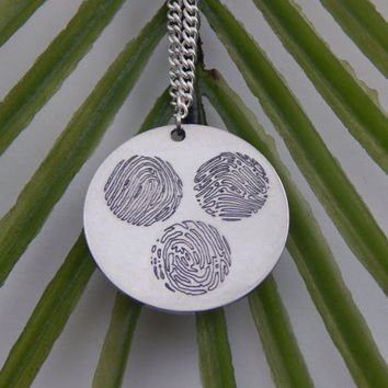 Custom Personalized Three Fingerprints Circles Pendant Necklace