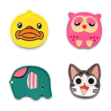 Finex  Set of 4  Hello Kitty Head Cartoon Characters silicone Coaster Set for Drink Cup Coasters Mat Mats