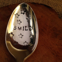 Hand Stamped Vintage Silver Spoon, Best Friend Gift, Smile Silver Spoon, Bridal Gift, Shower Gift, Birthday Gift, Inspirational Spoon