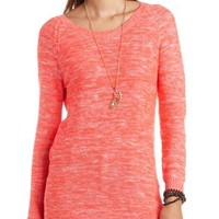 Open Back Marled Knit Tunic Sweater by Charlotte Russe