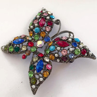 Butterfly Pin or Brooch, Pearls, Multi-coloured Rhinestones, Vintage Jewelry, Gift for Her SPRING SALE