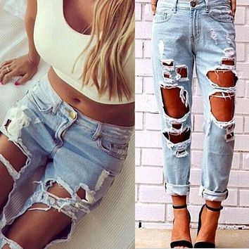 Sexy Women Ladies Summer High Waist Jeans Destroyed Ripped Distressed Slim Cool
