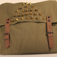 Spike Studded Army Surplus Olive Drab Messenger Crossbody Bag - Free Shipping from Flamingo Maude