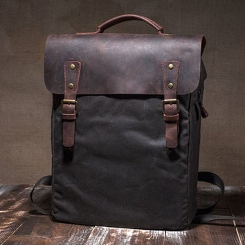 9cb253c08c70 Waxed canvas bag - mens backpack - waxed backpack - wax canvas backpack -  leather back