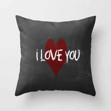 Valentines I love you Chalkboard Design Throw Pillow by secretgardendesigns | Society6