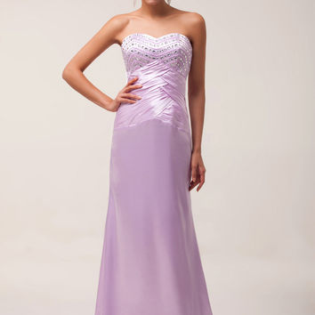 Strapless Beaded Lace Up  Satin Maxi Evening Dress