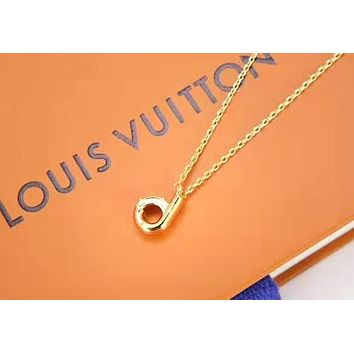 LV Louis Vuitton Fashion D Letter Couple Personality Necklace Accessories Jewelry