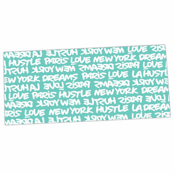 "Just L ""Lux Writing Wht Teal"" White Typography Desk Mat"