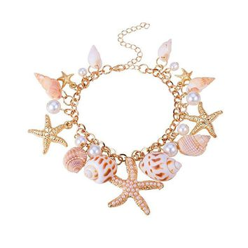 Fashion Sea Shell Starfish Faux Pearl Collar Bib Statement Chunky Bracelet Jewelry