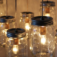 Canopy Mason Jar Chandelier Light  Upcycled BootsNGus by BootsNGus