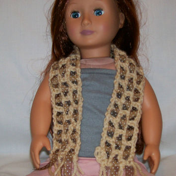 18 Inch Doll, Crochet, Handmade, Neck Scarf, Dress Scarf, Doll Accessories, American Made, Crochet Doll Clothes, Girl Gift, Doll Clothes