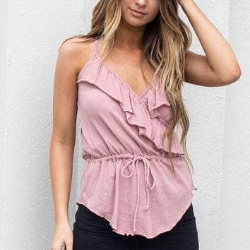 CHASER Ruffle Surplice Antique Rose Cami Top