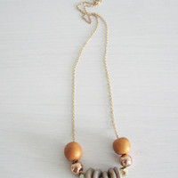 "Golden dainty necklace - golden beads necklace- pale gray and gold "" Round and round"""
