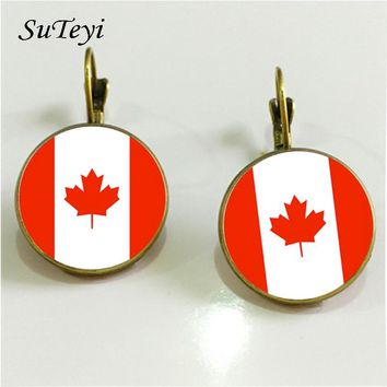 SUTEYI Classic National Flag French Hook Earrings Handmade Round Glass Dome Canada Czech Republic Pattern Women Jewelry