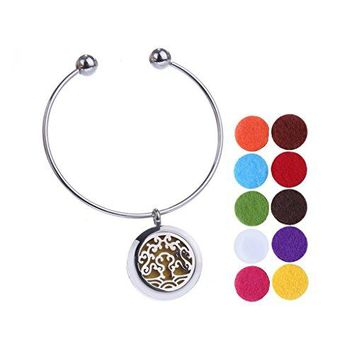 JFairy Jewelry Stainless Steel Essential Oil Hollow Diffuser Locket Cuff Bracelet Bangles