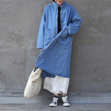 Johnature Women Loose Stand Collar Plate Buckle Denim Trench Coats Chinese Style New Vintage 2018 Spring Solid Color Long Coats