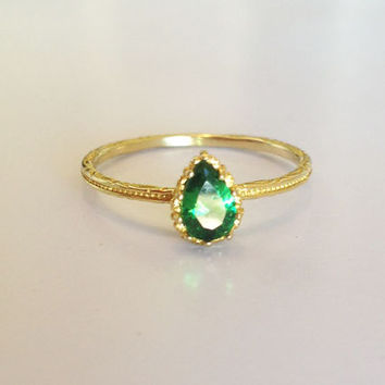 20% off- SALE!! Emerald Ring - May Birthstone Ring - Gemstone Ring - Gold Ring - Bezel Ring - Slim Band