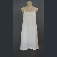 1920s White Cotton Chemise Slip, 34 bust, with Hand Done Embroidery & Drawnwork, Vintage 20s Lingerie