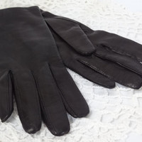 Black leather gloves vintage wrist length silk lined winter driving
