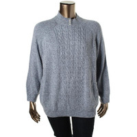 Karen Scott Womens Plus Knit Marled Pullover Sweater