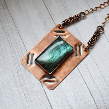 Stone labradorite in the copper metal plate  necklace of the metal sheet  necklace with the stone  pendant labradorite  green labradorite