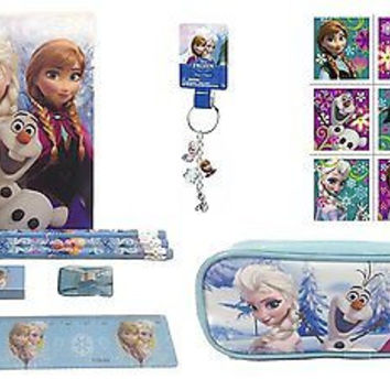 Disney Frozen Blue Stationary Set and Pencil Pouch + Stickers + Keychain Set